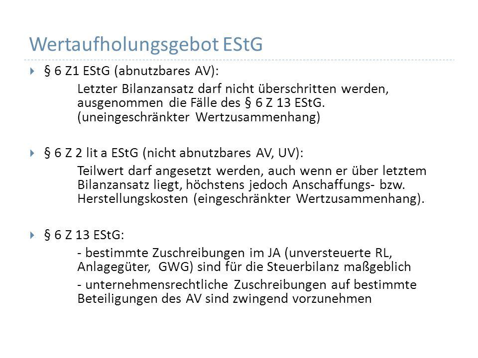 Wertaufholungsgebot EStG