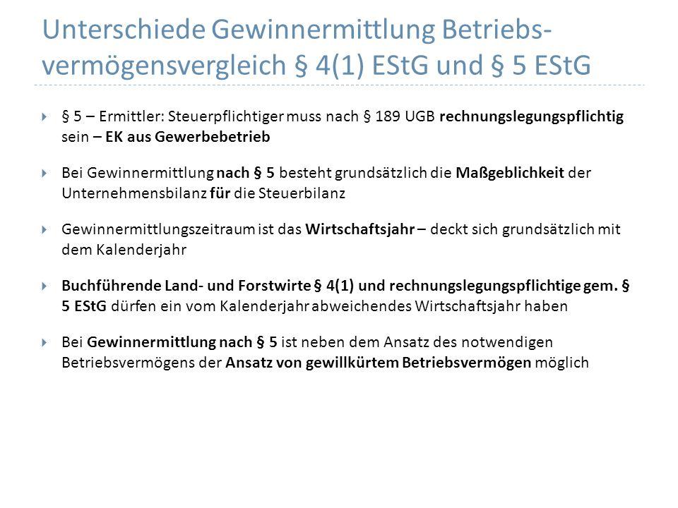 Unterschiede Gewinnermittlung Betriebs- vermögensvergleich § 4(1) EStG und § 5 EStG