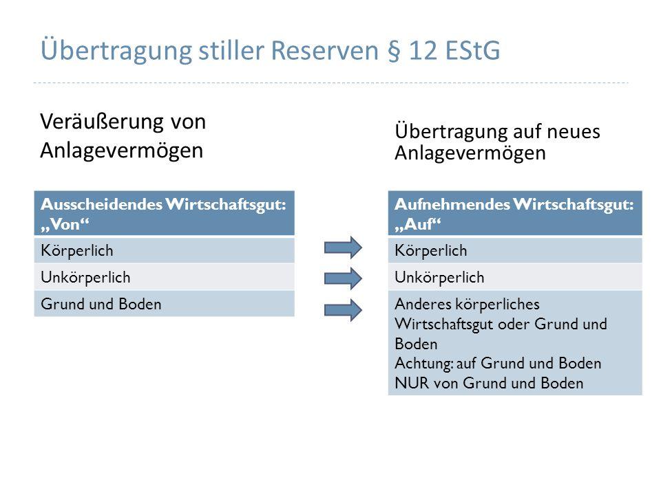 Übertragung stiller Reserven § 12 EStG