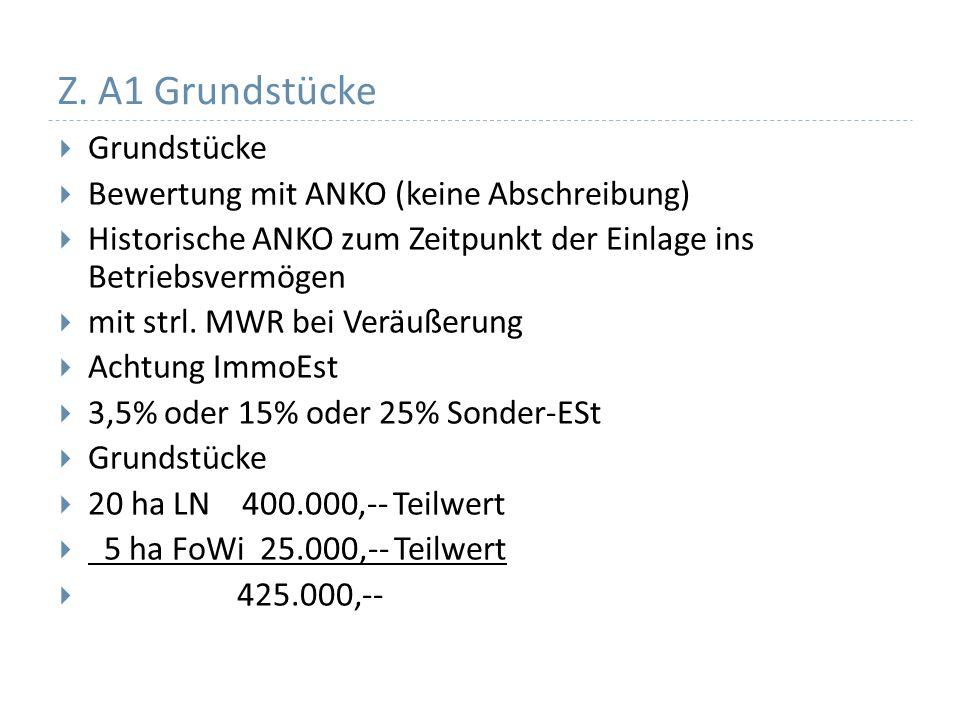 Z. A1 Grundstücke Grundstücke Bewertung mit ANKO (keine Abschreibung)