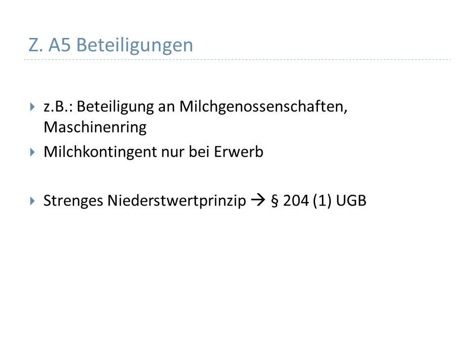 Z. A5 Beteiligungen z.B.: Beteiligung an Milchgenossenschaften, Maschinenring. Milchkontingent nur bei Erwerb.