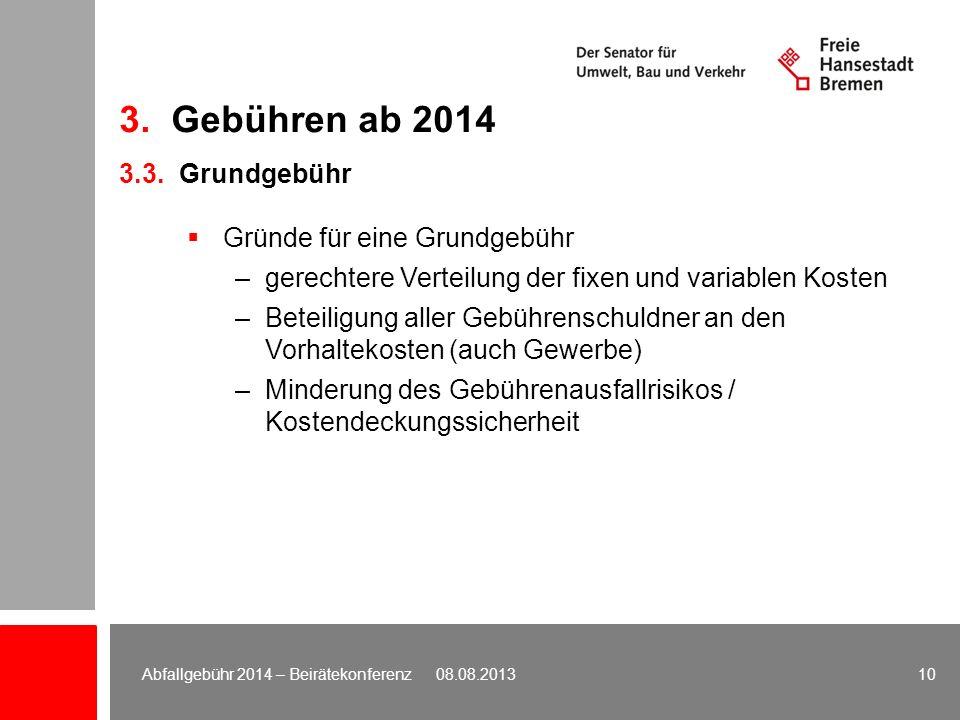 3. Gebühren ab 2014 3.3. Grundgebühr Gründe für eine Grundgebühr