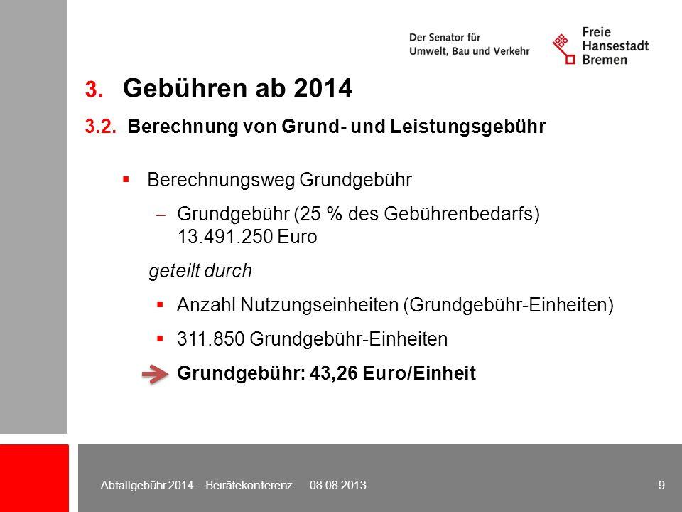 3. Gebühren ab 2014 3.2. Berechnung von Grund- und Leistungsgebühr