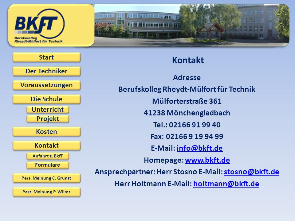 Kontakt Adresse Berufskolleg Rheydt-Mülfort für Technik