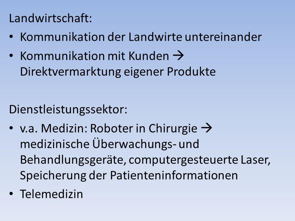 Landwirtschaft: Kommunikation der Landwirte untereinander. Kommunikation mit Kunden  Direktvermarktung eigener Produkte.