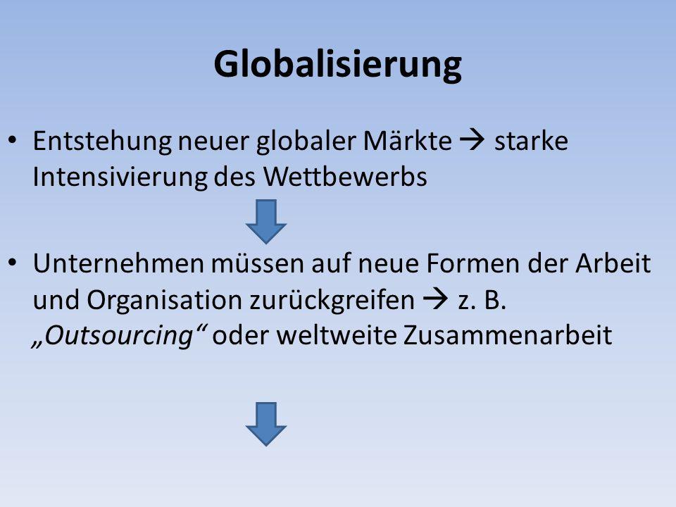 Globalisierung Entstehung neuer globaler Märkte  starke Intensivierung des Wettbewerbs.
