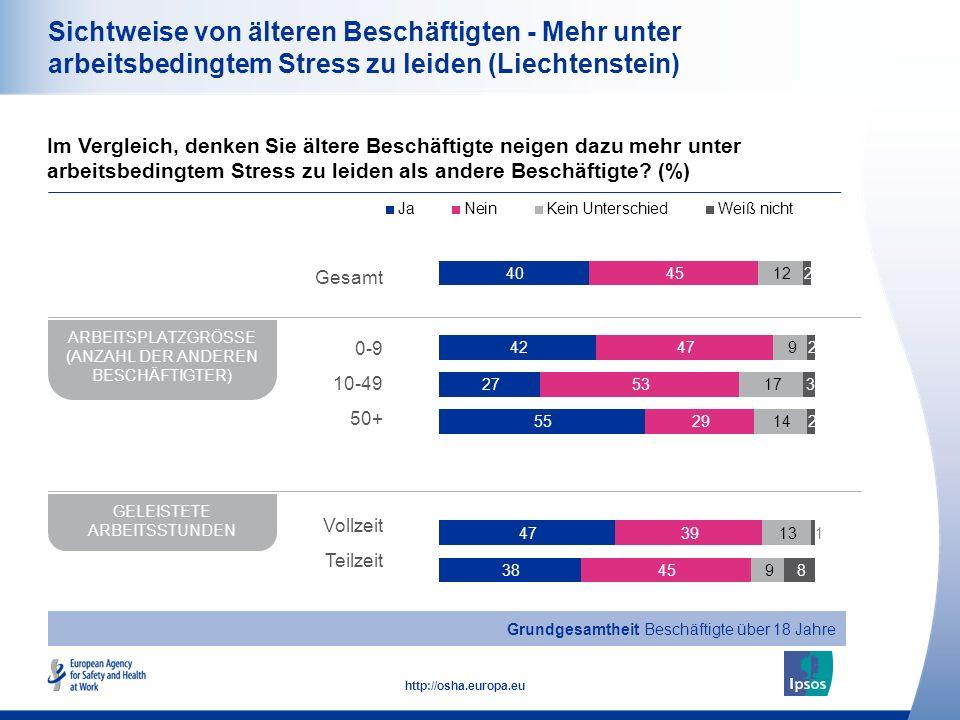 Sichtweise von älteren Beschäftigten - Mehr unter arbeitsbedingtem Stress zu leiden (Liechtenstein)