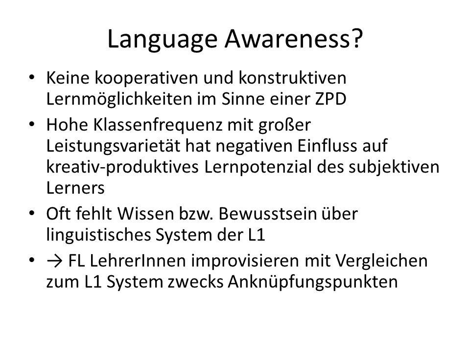 Language Awareness Keine kooperativen und konstruktiven Lernmöglichkeiten im Sinne einer ZPD.
