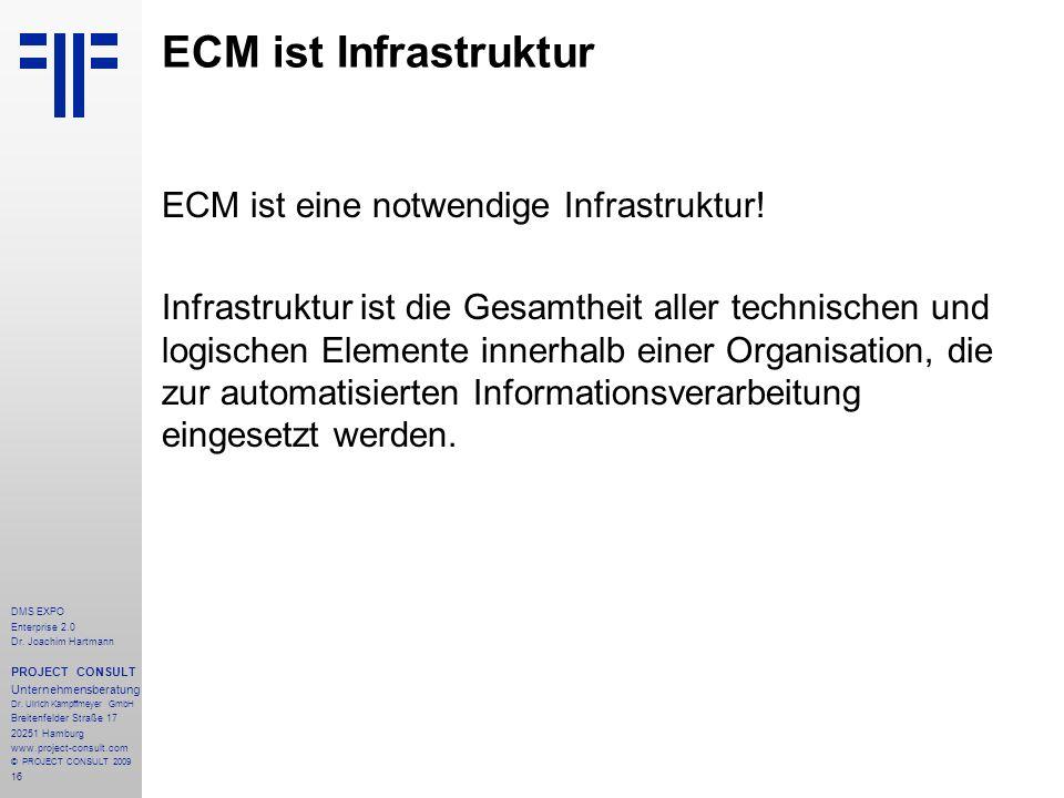ECM ist Infrastruktur ECM ist eine notwendige Infrastruktur!