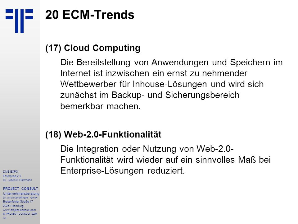 20 ECM-Trends Cloud Computing