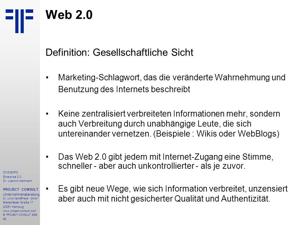 Web 2.0 Definition: Gesellschaftliche Sicht