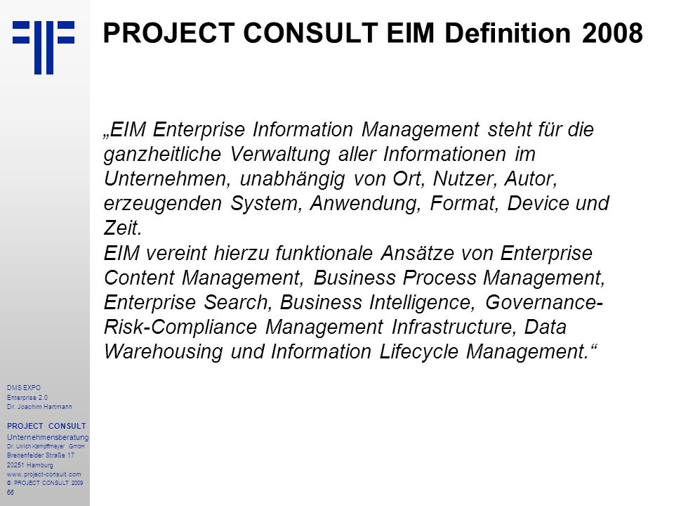 PROJECT CONSULT EIM Definition 2008