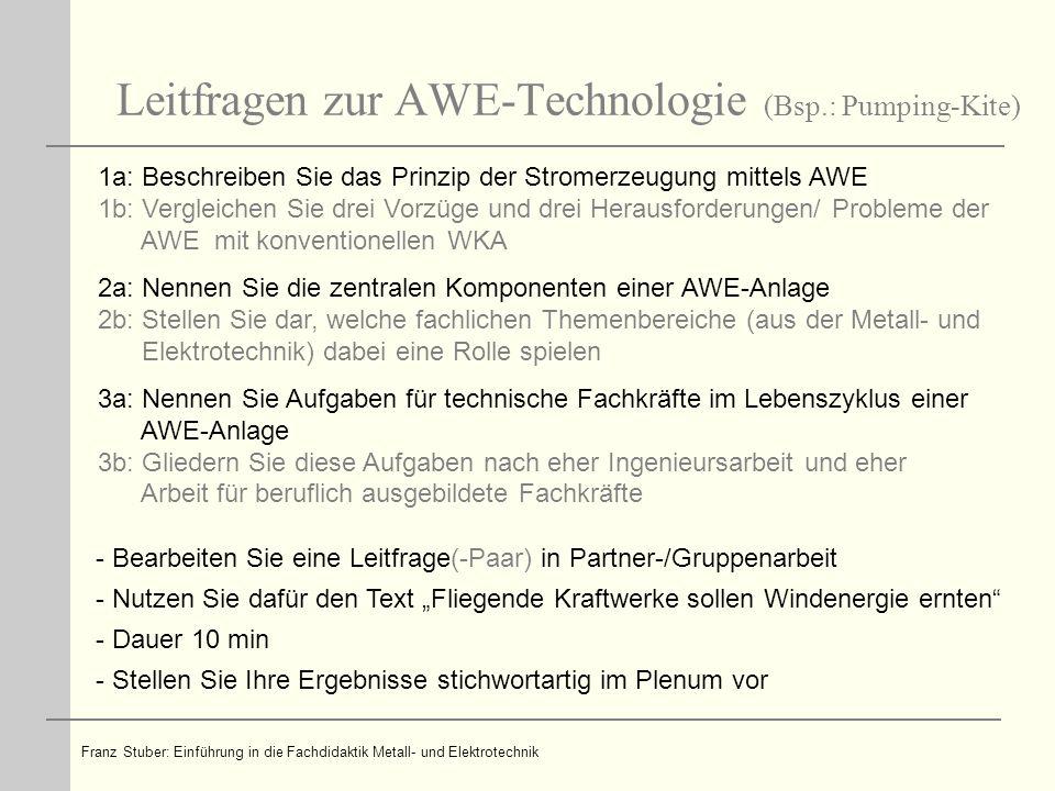 Leitfragen zur AWE-Technologie (Bsp.: Pumping-Kite)