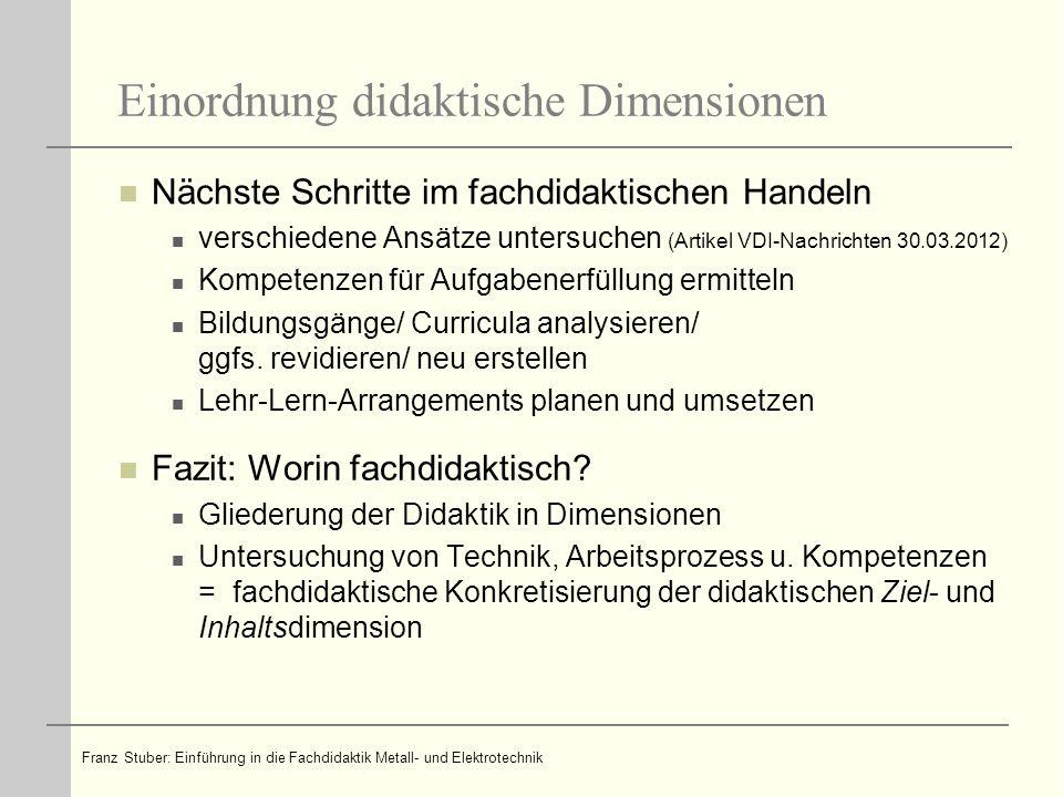 Einordnung didaktische Dimensionen