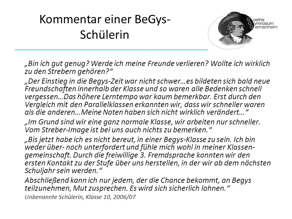 Kommentar einer BeGys-Schülerin