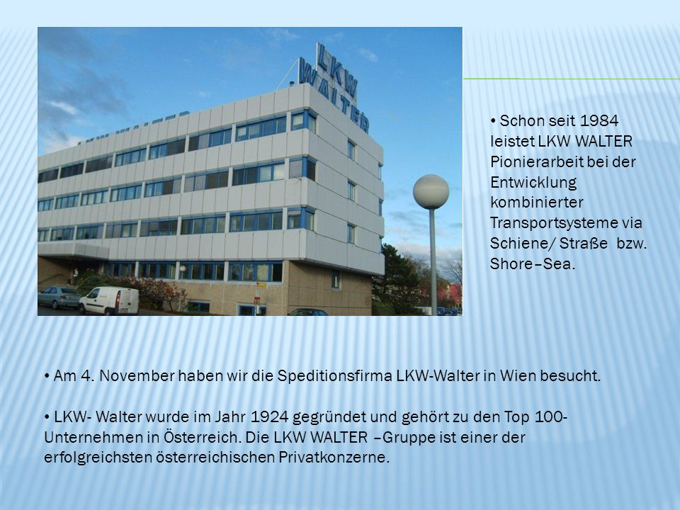 Schon seit 1984 leistet LKW WALTER Pionierarbeit bei der Entwicklung kombinierter Transportsysteme via Schiene/ Straße bzw. Shore–Sea.