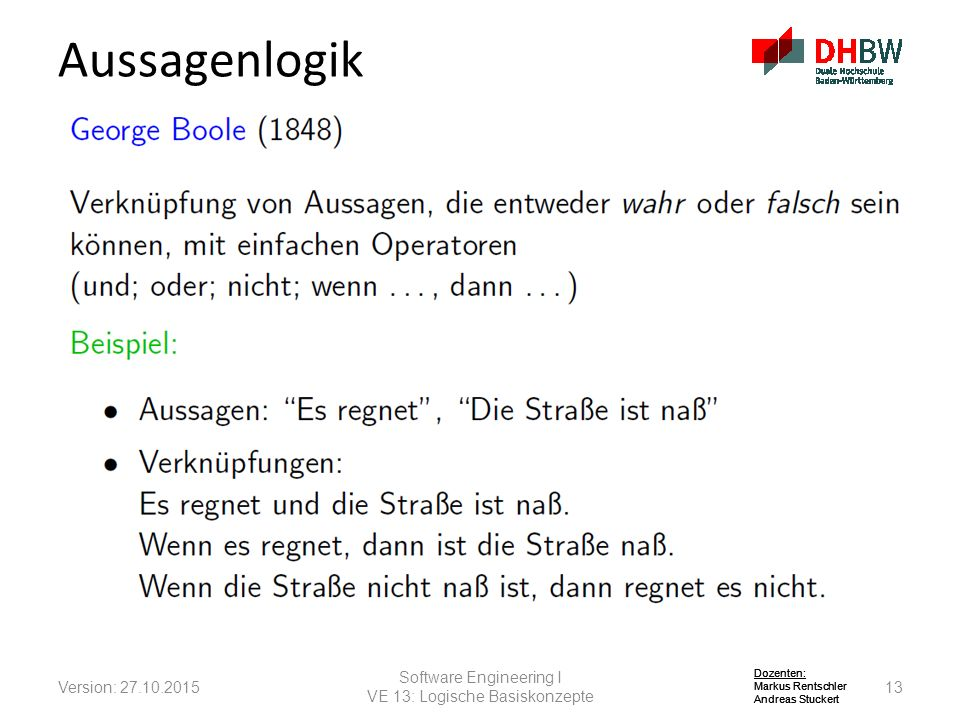 Aussagenlogik Software Engineering I Version: