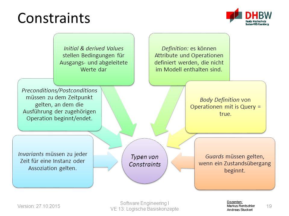 Constraints Typen von Constraints. Invariants müssen zu jeder Zeit für eine Instanz oder Assoziation gelten.