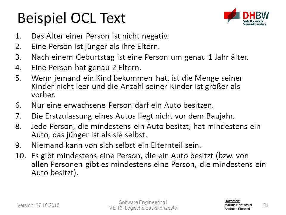 Beispiel OCL Text Das Alter einer Person ist nicht negativ.