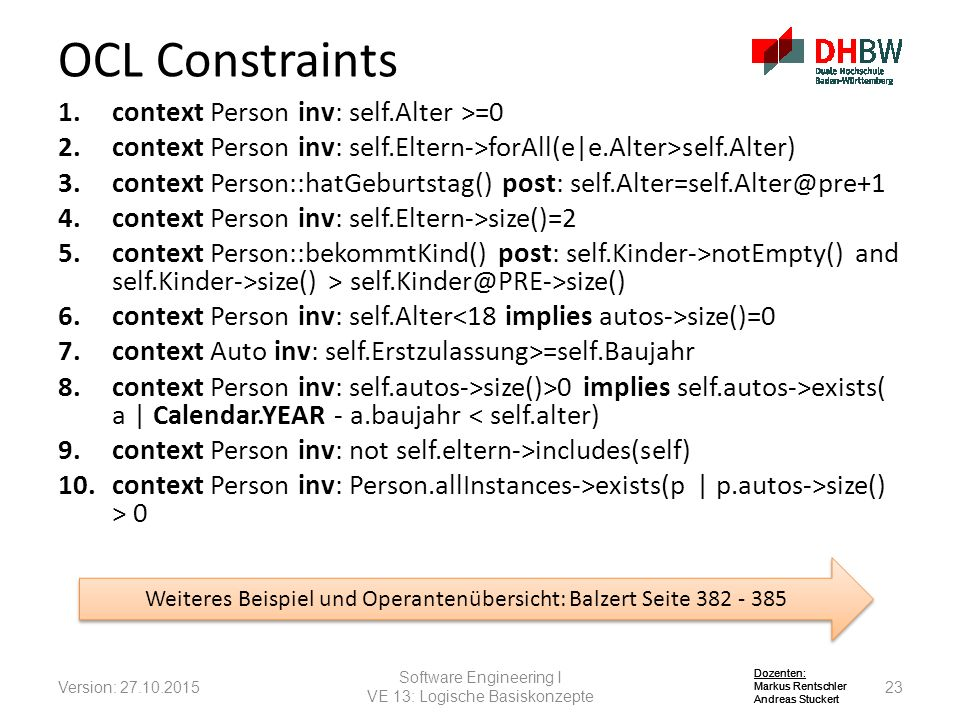 OCL Constraints context Person inv: self.Alter >=0