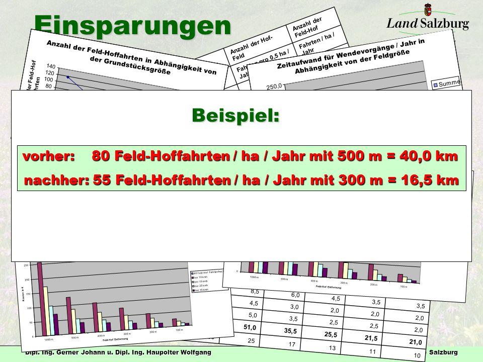 nachher: 55 Feld-Hoffahrten / ha / Jahr mit 300 m = 16,5 km
