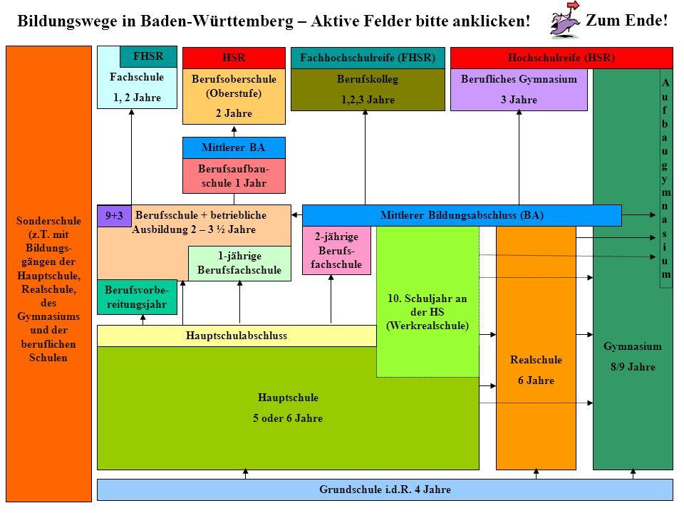 Bildungswege in Baden-Württemberg – Aktive Felder bitte anklicken!