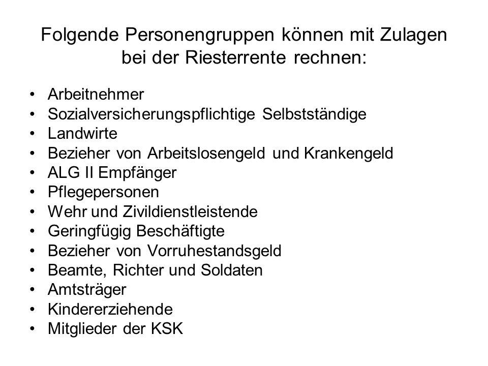 Folgende Personengruppen können mit Zulagen bei der Riesterrente rechnen: