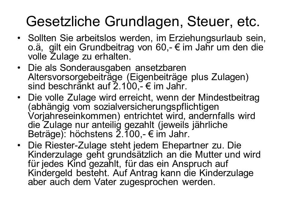 Gesetzliche Grundlagen, Steuer, etc.