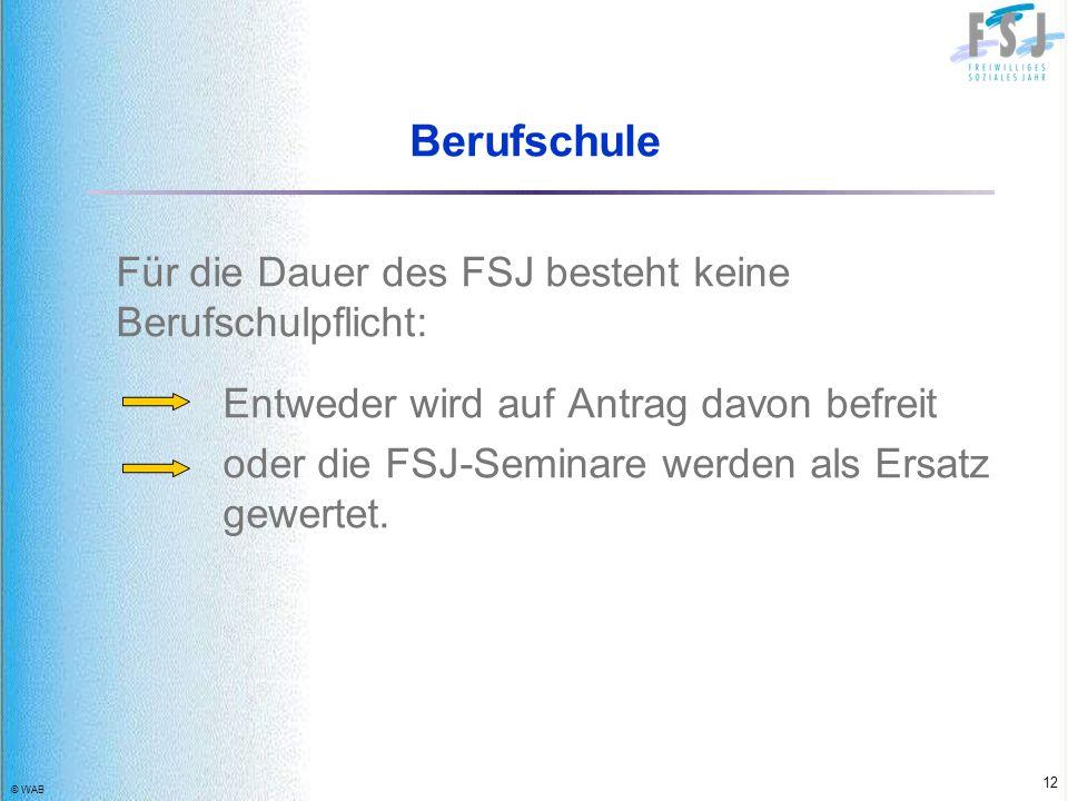 Berufschule Für die Dauer des FSJ besteht keine Berufschulpflicht: