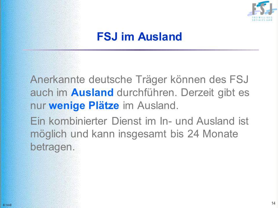 FSJ im Ausland Anerkannte deutsche Träger können des FSJ auch im Ausland durchführen. Derzeit gibt es nur wenige Plätze im Ausland.