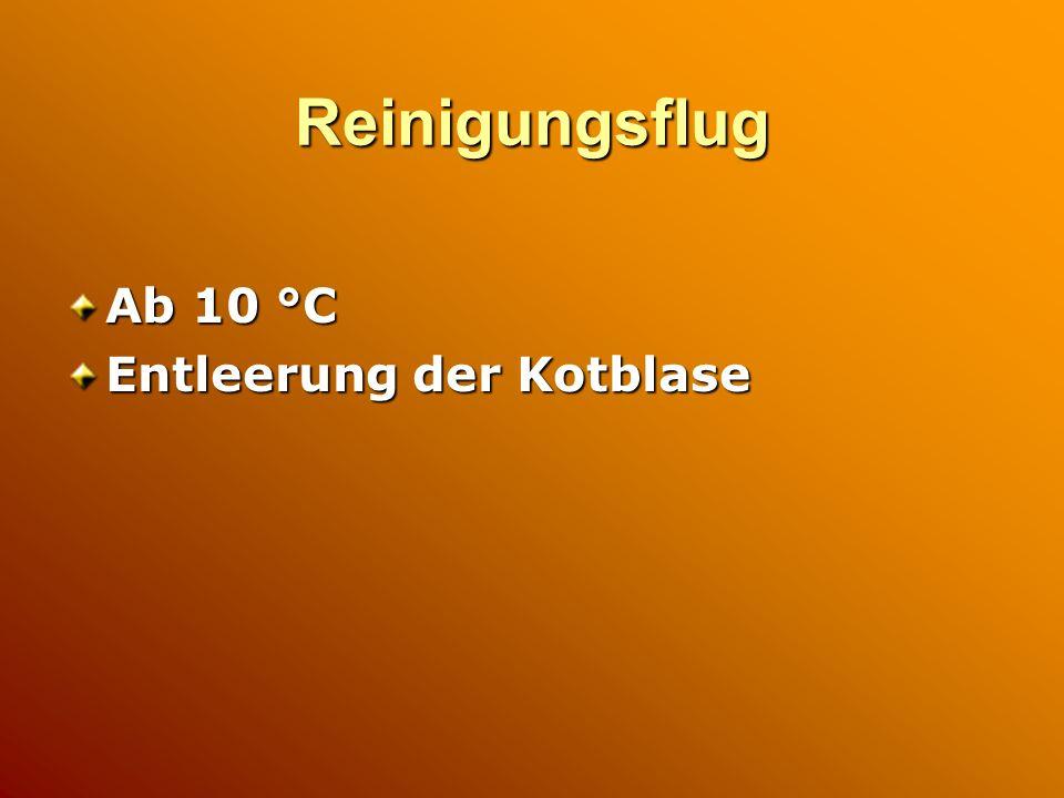 Reinigungsflug Ab 10 °C Entleerung der Kotblase