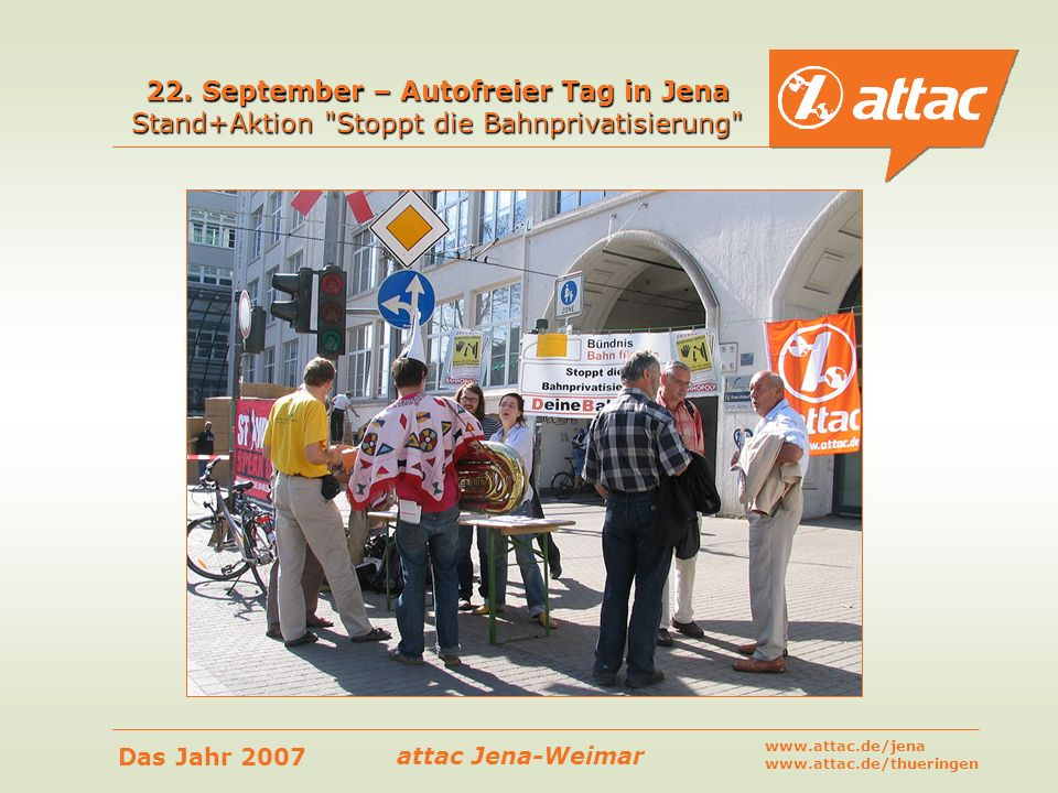 22. September – Autofreier Tag in Jena Stand+Aktion Stoppt die Bahnprivatisierung