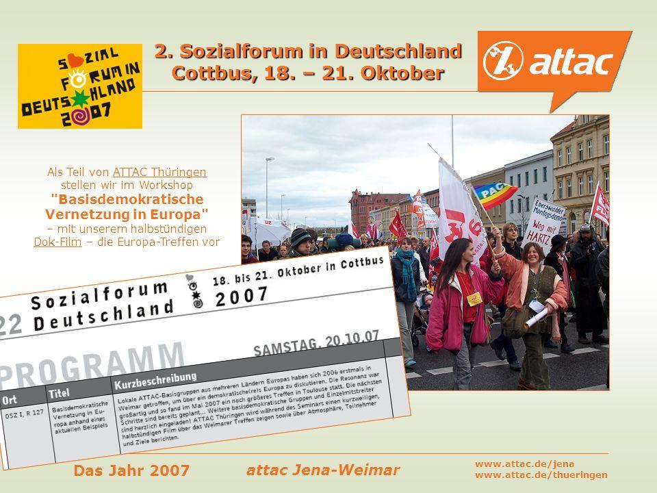 2. Sozialforum in Deutschland Cottbus, 18. – 21. Oktober
