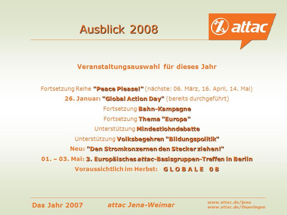 Ausblick 2008 Veranstaltungsauswahl für dieses Jahr