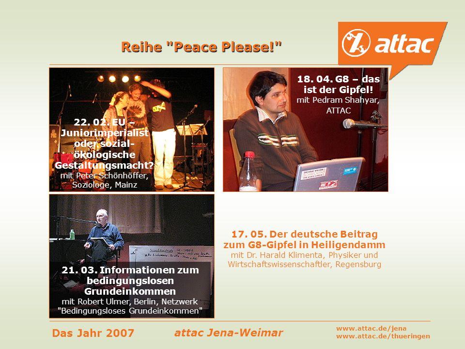 Reihe Peace Please! 18. 04. G8 – das ist der Gipfel!