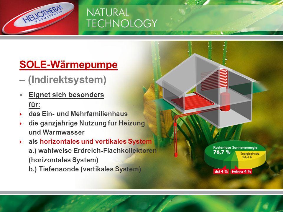 SOLE-Wärmepumpe – (Indirektsystem) Eignet sich besonders für: