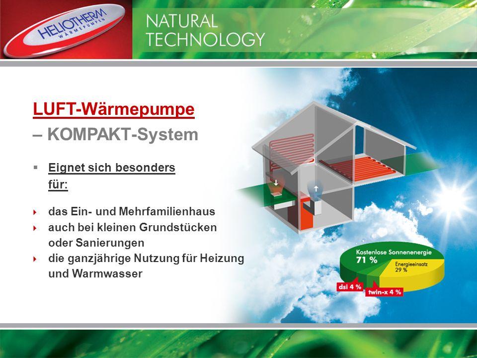 LUFT-Wärmepumpe – KOMPAKT-System Eignet sich besonders für: