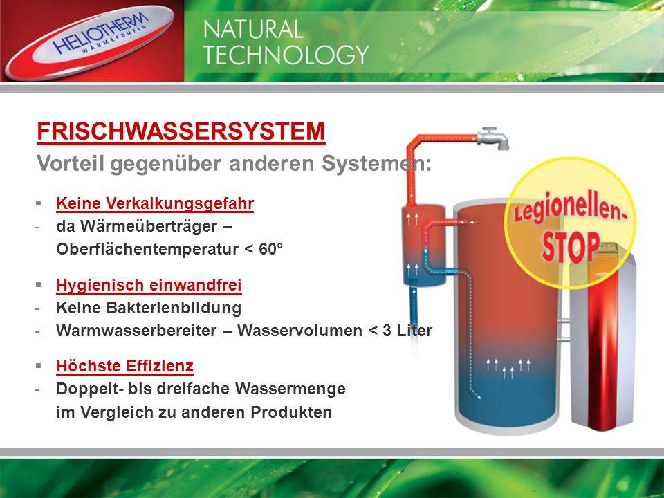 FRISCHWASSERSYSTEM Vorteil gegenüber anderen Systemen: