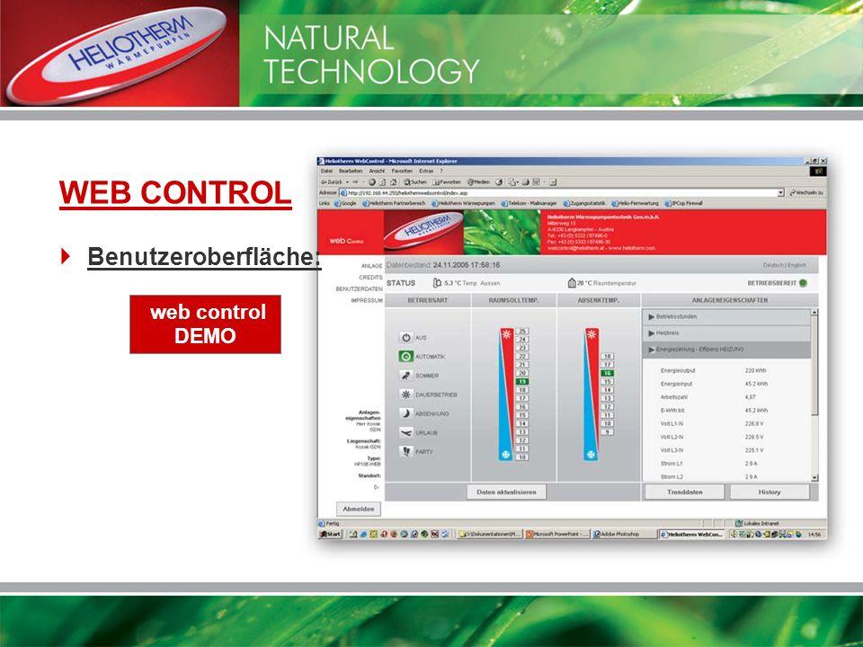 WEB CONTROL Benutzeroberfläche: web control DEMO