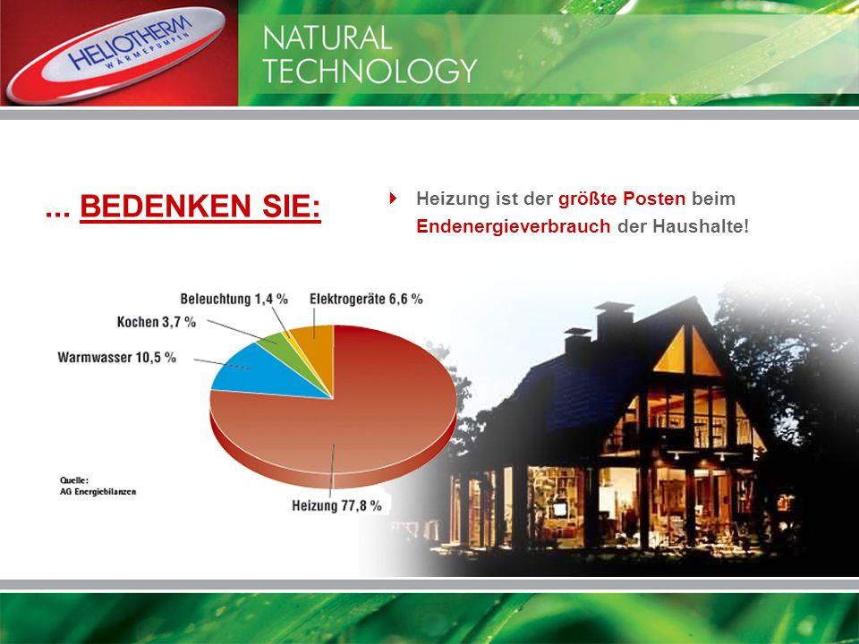 ... BEDENKEN SIE: Heizung ist der größte Posten beim Endenergieverbrauch der Haushalte!