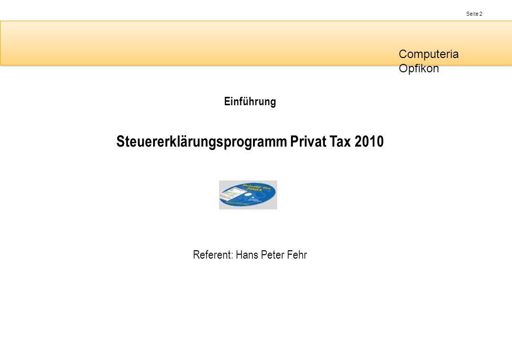 Steuererklärungsprogramm Privat Tax 2010