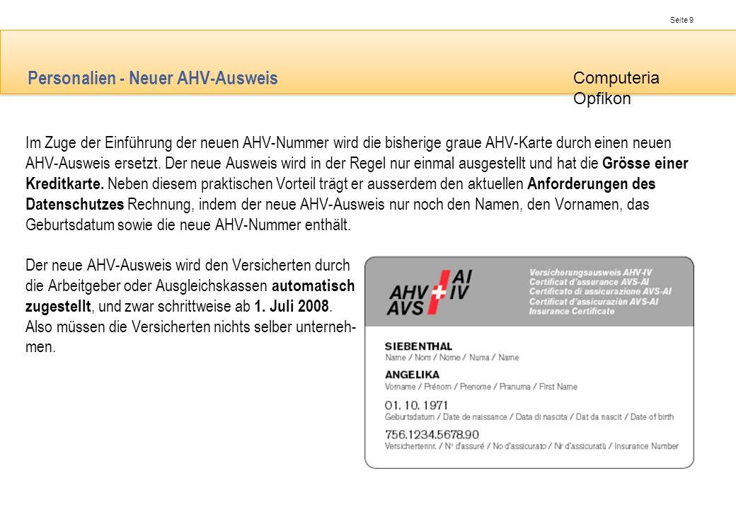 Personalien - Neuer AHV-Ausweis