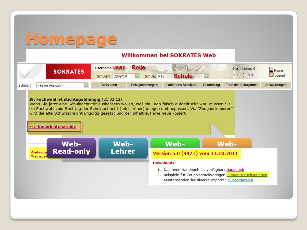 Homepage Web- Read-only Web-Lehrer Web- KV Web-Direktor