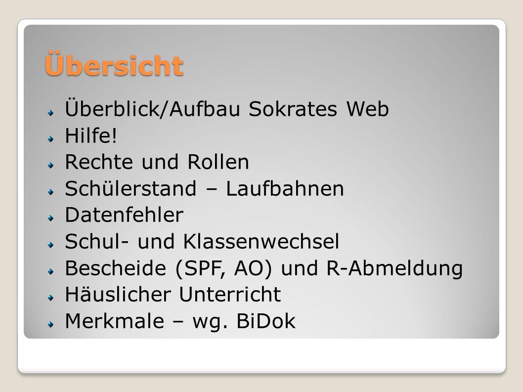 Übersicht Überblick/Aufbau Sokrates Web Hilfe! Rechte und Rollen