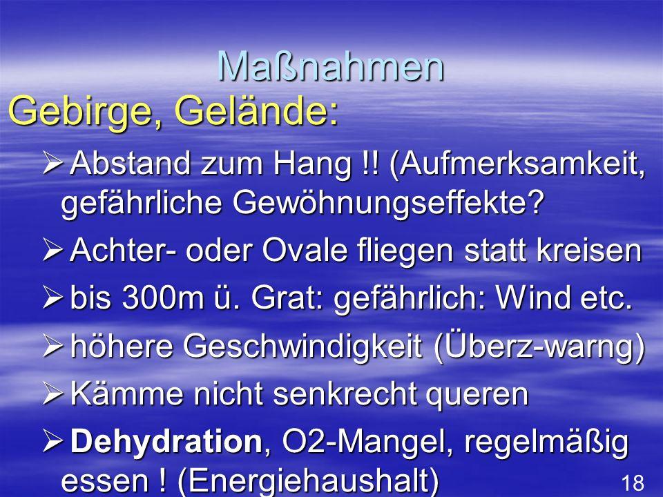Maßnahmen Gebirge, Gelände: