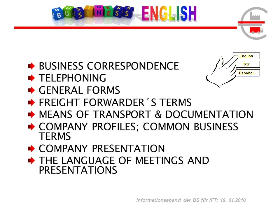ENGLISH BUSINESS CORRESPONDENCE TELEPHONING GENERAL FORMS
