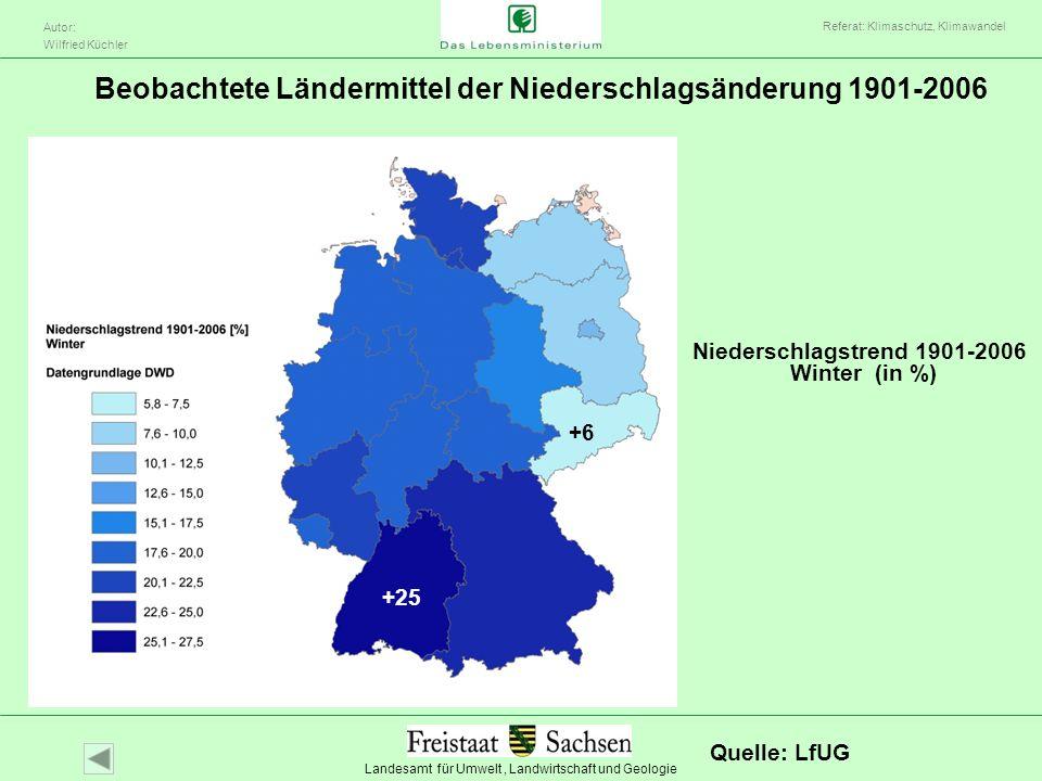 Beobachtete Ländermittel der Niederschlagsänderung 1901-2006