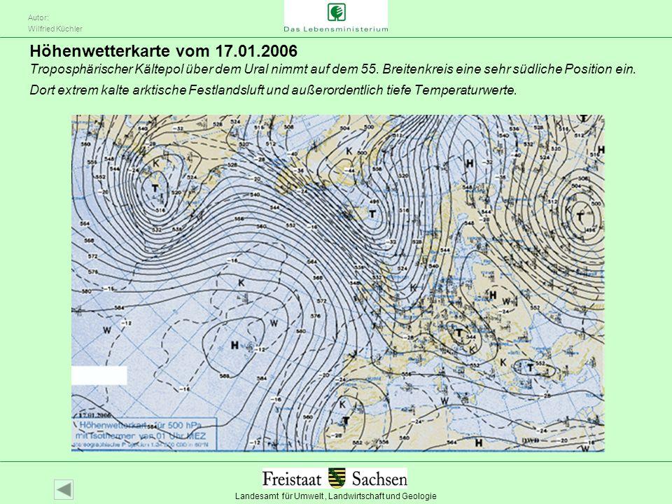 Höhenwetterkarte vom 17.01.2006 Troposphärischer Kältepol über dem Ural nimmt auf dem 55.
