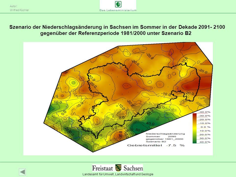 Szenario der Niederschlagsänderung in Sachsen im Sommer in der Dekade 2091- 2100 gegenüber der Referenzperiode 1981/2000 unter Szenario B2