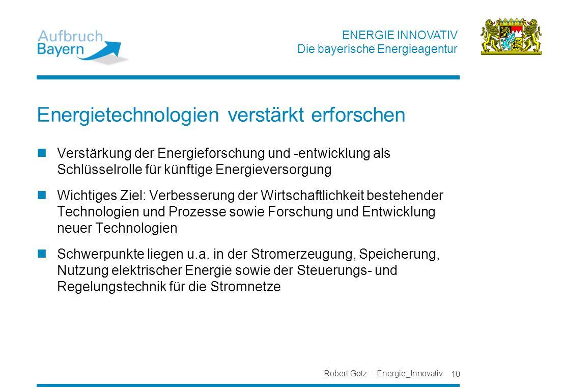 Energietechnologien verstärkt erforschen